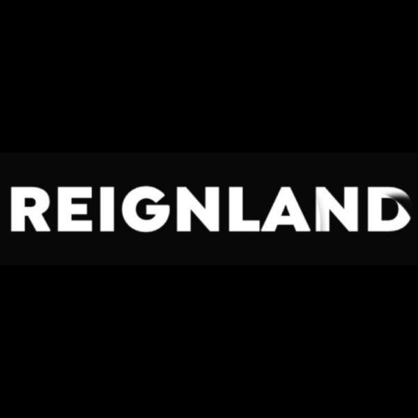Reignland black and white logo on black background